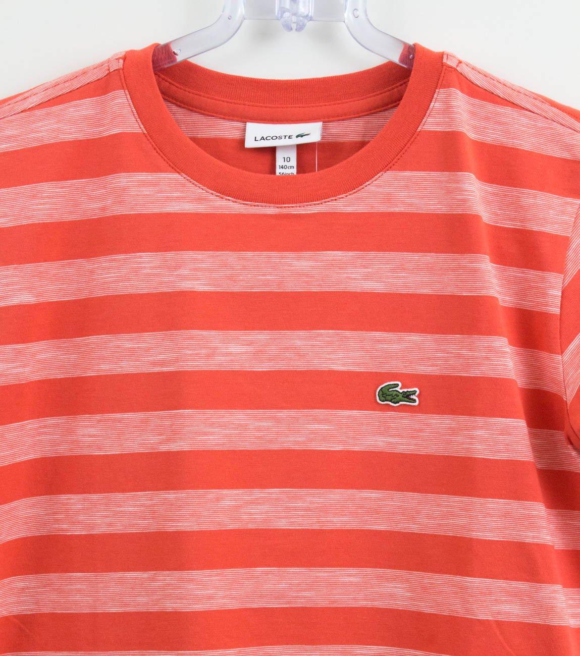 45c4934355f Camiseta Lacoste Infantil Menino Listras Laranja - Xuá Kids