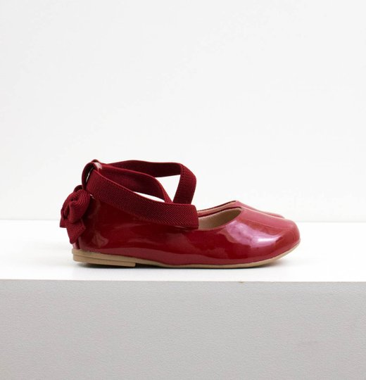 Sapatilha Bailarina Mini Contramão Verniz Vermelho