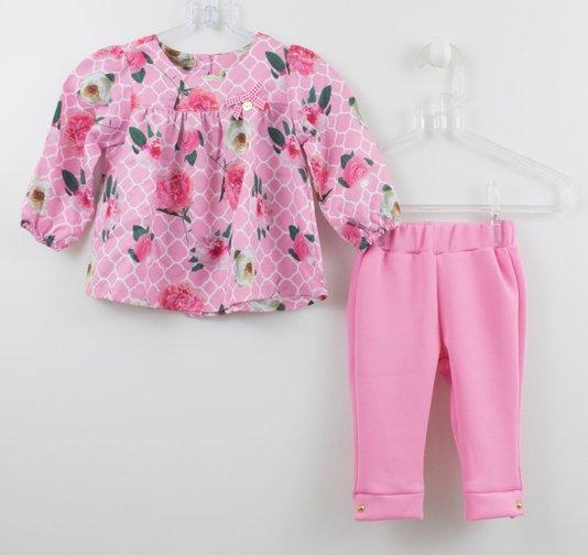 Conjunto 1+1 Baby Bata Flores com Fuseau Rosa