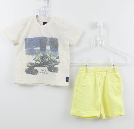 Conjunto 1+1 Easy Baby Camiseta Skate com Bermuda Moletom Amarela