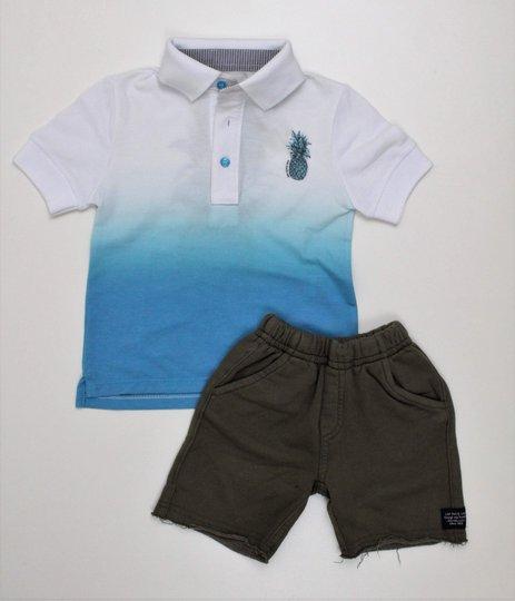 Conjunto 1+1 Camisa Polo Abacaxi e Bermuda Moletom Musgo