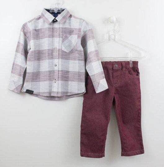 Conjunto Camisa Xadrez Linho com Calça 1+1 Baby