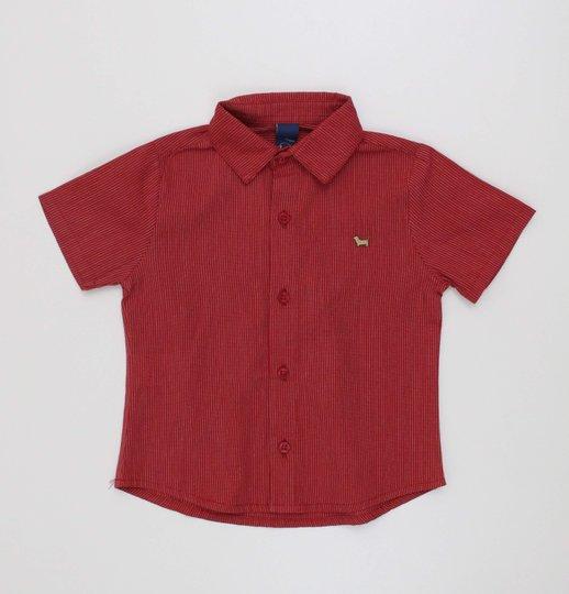 Camisa 1+1 Baby Vermelha com Listras Fininhas