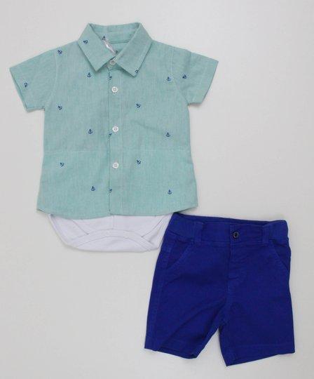 Conjunto Noruega Baby Body Camisa Estampa Ancora com Bermuda