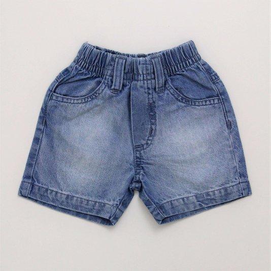 Bermuda Jeans 1+1 Modelo Tradicional com Elástico na Cintura