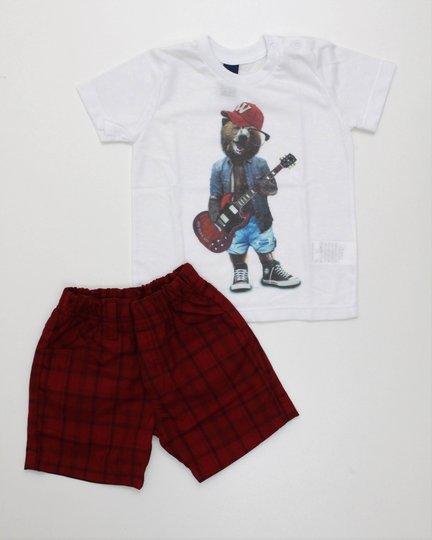 Conjunto 1+1 Menino Camiseta Urso com Guitarra em Malha e Bermuda Tecido Xadrez