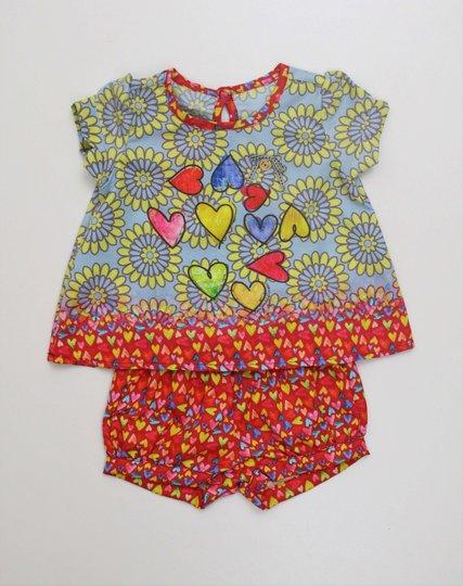 Conjunto 1+1 Baby Bata Corações com Short Fofinho