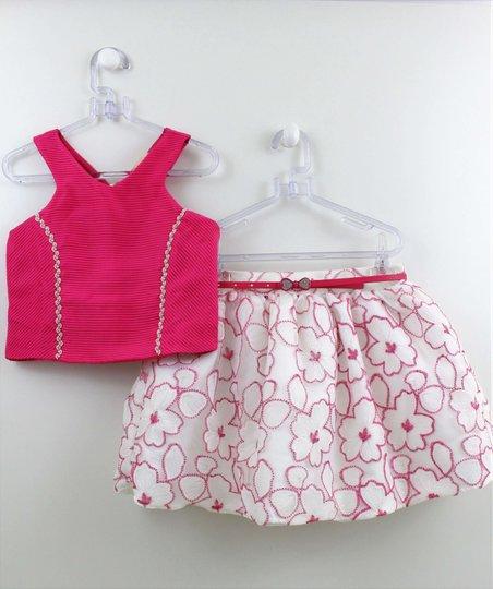 Conjunto Petit Cherie Festa Top Pink com Saia Renda Flores