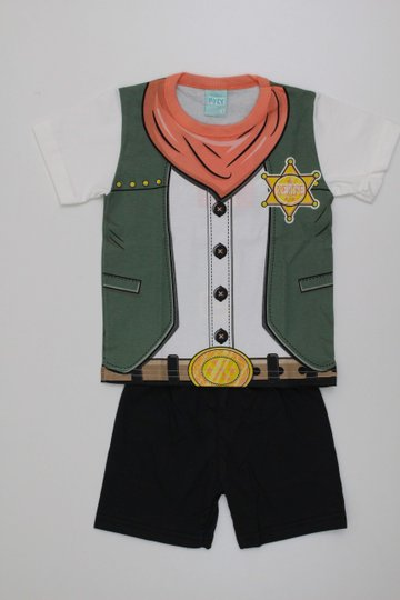 Pijama Kyly Menino Camiseta Xerife Brilha no Escuro com Bermuda