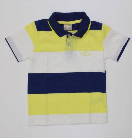 Camisa Polo Milon Baby em Malha Listras com Escritas Bordadas