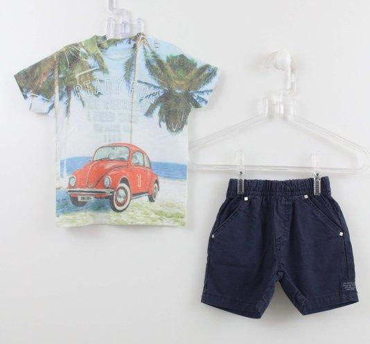 Conjunto 1+1 Easy Baby Camiseta Fusca com Bermuda