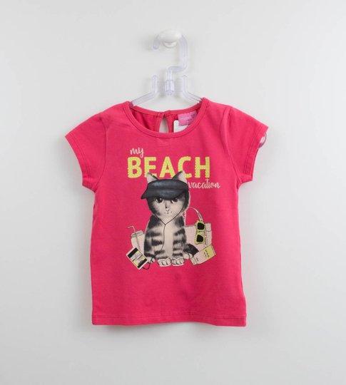 Blusa Arte Cat na Praia Momi Mini