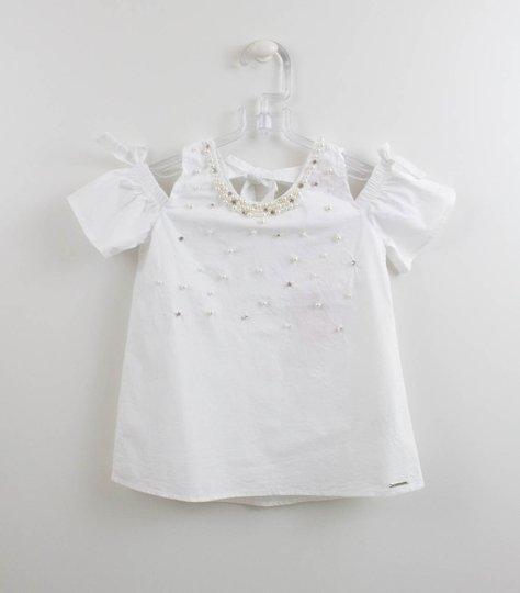 Blusa Branca Tricoline Bordado Pérolas e Cristais Pituchinhus