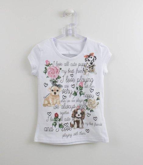 Blusa Cotton Escritas Cachorrinhos Pituchinhus