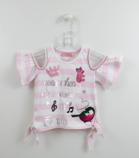 Blusa Malha Listrada Rosa com Patches Pituchinhus