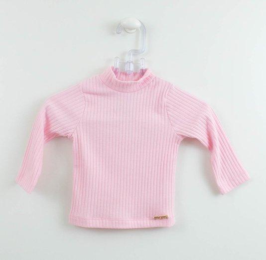 Blusa Manga Longa Momi Mini Gola Alta Rosa