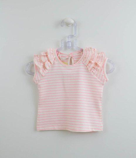 Blusa Menina 1+1 Baby Listras Neon Pink