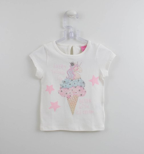 Blusa Momi Mini Sorvete Unicornio Off White