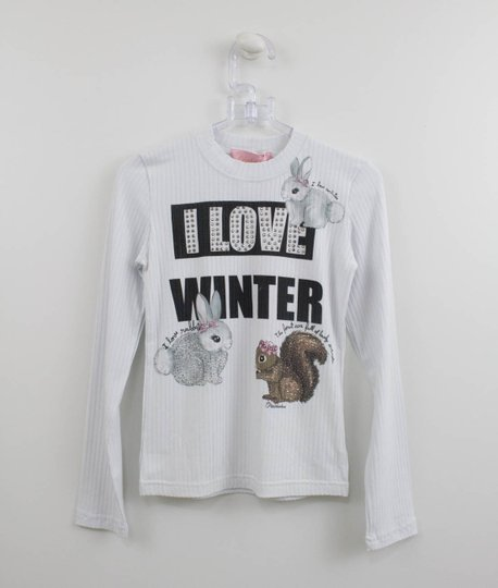 Blusa Pituchinhus Branca Coelhos Love Winter
