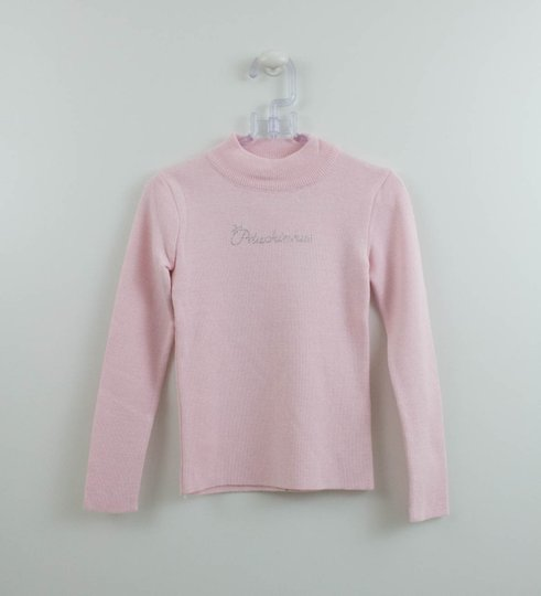Blusa Pituchinhus Tricot Rosa Básica  Gola Alta