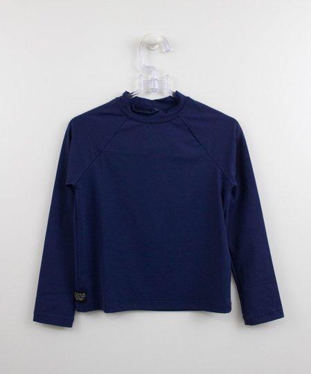 Blusa Surfista com Proteção UV Azul Marinho Um mais Um