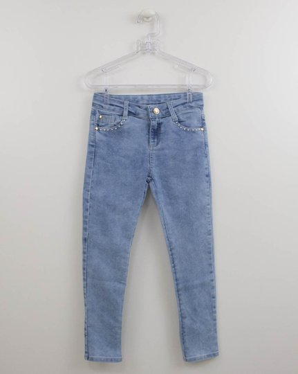 Calça Jeans Petit Cherie Laço Pérolas