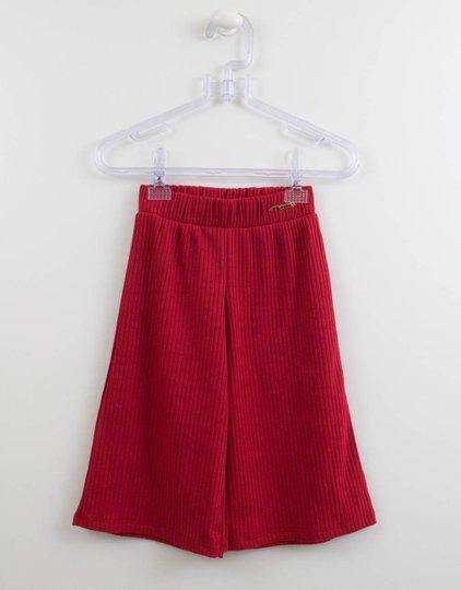 Calça Pantacourt Vermelha Malha Canelada Momi Mini