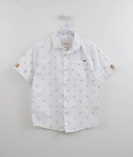 Camisa Branca Estampa Tartaruga Manga Curta Milon