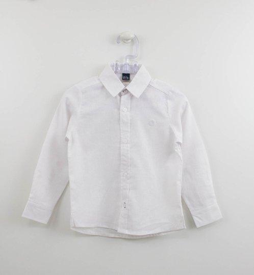 Camisa Branca Fina Infantil Um mais Um Menino