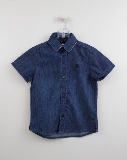 Camisa Jeans Infantil Manga Curta Um mais Um