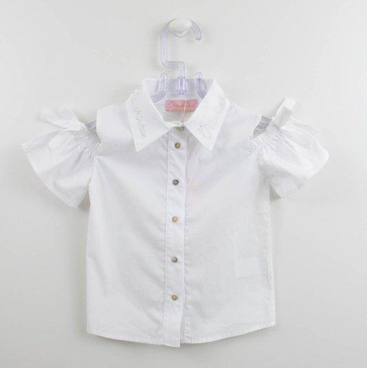 Camisa Tricoline Detalhe Manga Laço Pituchinhus