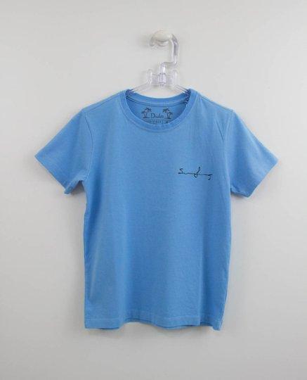 Camiseta Azul Infantil Estampa Prancha nas Costas Dudes