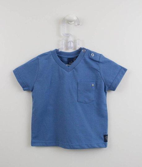 Camiseta Azul Manga Curta com Bolsinho 1+1 Baby