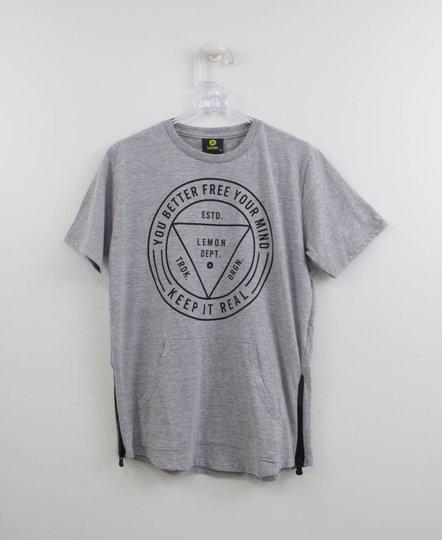 Camiseta Menino Cinza Lemon com Bolso Canguru