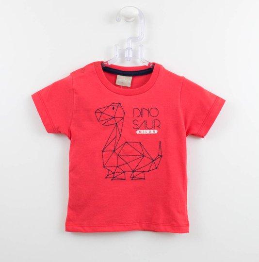 Camiseta Milon Baby Manga Curta Dinossaur Bordado