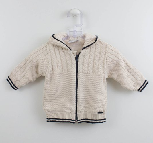Casaco Bege Bebê Noruega Tricot com Pele