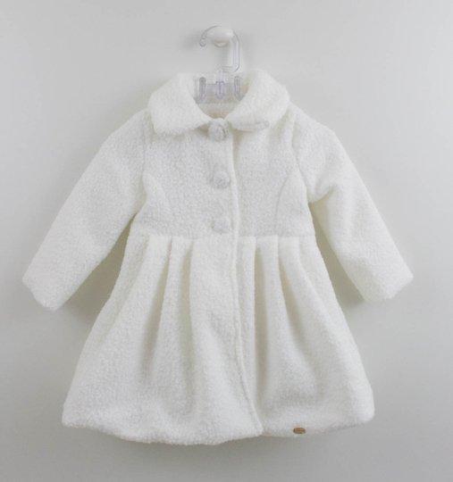 Casaco Longo Branco Lã Pipocada Petit Cherie