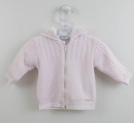 Casaco Rosa Bebê Noruega Tricot com Pele