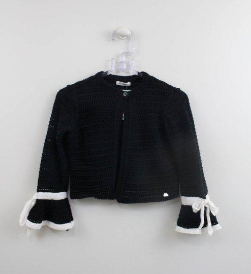Casaco Tricot Preto Laço Branco Um mais Um