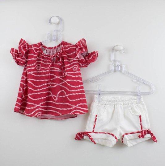 Conjunto 1+1 Baby Bata Vermelha Cordas e Short Off White