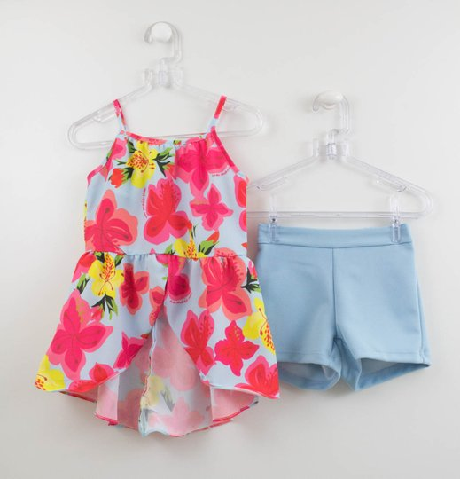Conjunto 1+1 Blusa Seda Estampada e Short Azul Malha
