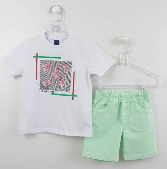Conjunto 1+1 Easy Baby Menino Camiseta + Bermuda Verde Água