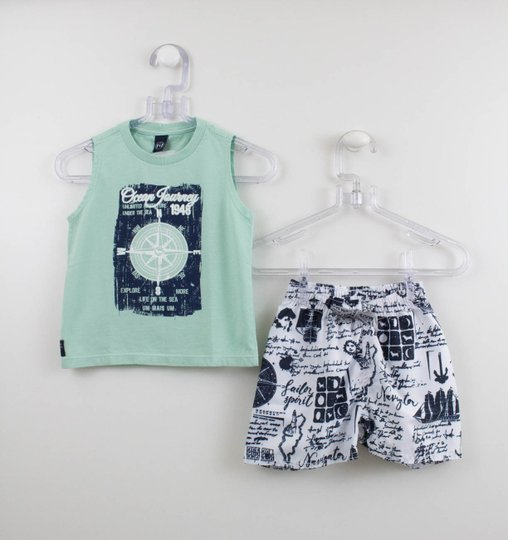 Conjunto 1+1 Menino Regata e Short Tactel Ocean Journey