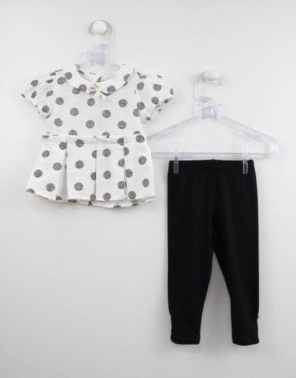 Conjunto Bebê Blusa Poás e Legging Preta Um mais Um
