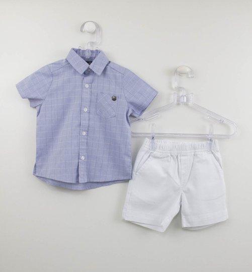 Conjunto Bebê Camisa Xadrez e Bermuda Branca Um mais Um