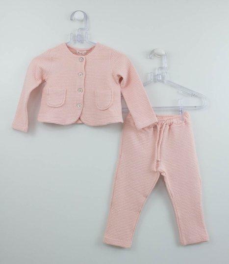 Conjunto Bebê Casaqueto e Calça Malha Listra 1+1 Menina