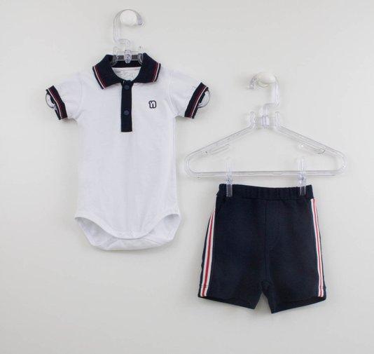 Conjunto Bebê Menino Body e Short Malha Noruega
