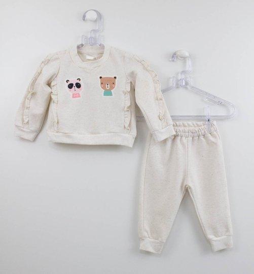 Conjunto Bebê Moletom Cru Casaco e Calça Um mais Um