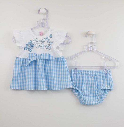 Conjunto Bebê Momi Bata e Calcinha Xadrez Azul