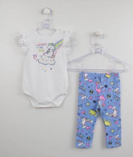 Conjunto Bebê Momi Body Unicórnio e Legging Estampada